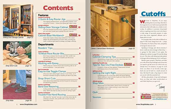 Spread 2, the table of contents