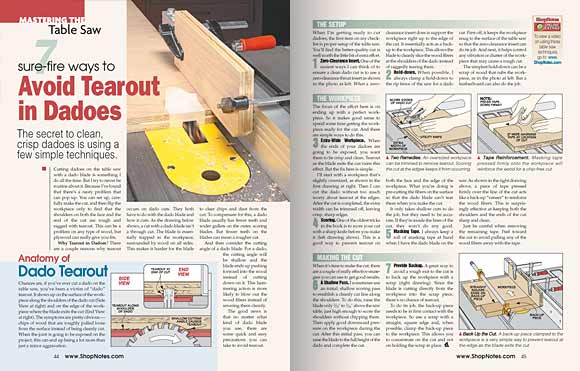 Pages 44 and 45, Mastering the Table Saw