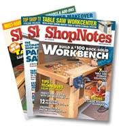 Three issues of ShopNotes fanned out
